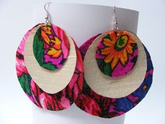 3 layer fabric earrings - $20 - these bold earrings feature green, pink, red, and yellow colors that make any outfit pop. They measure 8 cm. Fabric Earrings, Crochet Earrings, Layers, Pop, Yellow, Trending Outfits, Colors, Unique Jewelry, Handmade Gifts