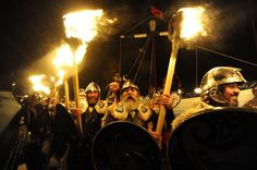 """Members of the 2013 """"Jarl Squad"""" take part in the annual Up Helly Aa festival which culminates in the burning of a Viking Galley in Lerwick, Shetland Islands on January 29, 2013. Up Helly Aa celebrates the influence of the Scandinavian Vikings in the Shetland Islands and has employed this theme in the festival since 1870."""