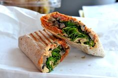 wrap with spinach, grilled Portobello, hummus, and sundried tomatoes