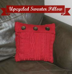 Upcycled Sweater Pillow - This cozy upcycled sweater pillow project is a great way to get a second life out of a favorite sweater.