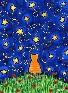 Orange Tabby Cat Looking at Starry Night Sky  artist: Shelagh Duffett /AliceinParis etsy store