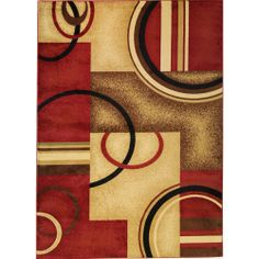 Give your living room or den added sophistication with this red geometric area rug. This contemporary rug gives hardwood floors a touch of welcoming warmth. The rug features various arcs and shapes and will do wonderfully with modern decor.