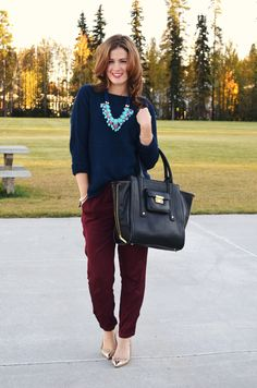 Maroon pants, navy sweater, turquoise statement necklace, nude flats