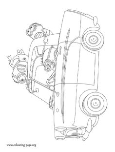 in this awesome picture the minions are driving around have fun with this despicable me 2 movie coloring page
