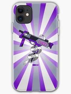 For the gamers who shoot first and ask questions later, a phone case that shows your approach to gaming. The design features a purple and grey SMG with a starburst background. Available on iPhone 4 all the way up to iPhone Submachine Gun, Iphone 4, Iphone Case Covers, Game Art, Maine, Guns, Leggings, Purple, Shirts