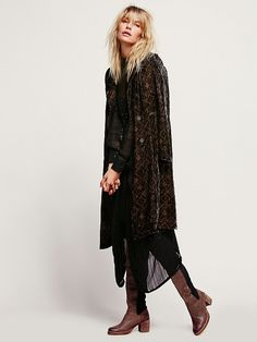 Free People Printed Velvet Duster, $228.00- Can a seamstress make this with better material?
