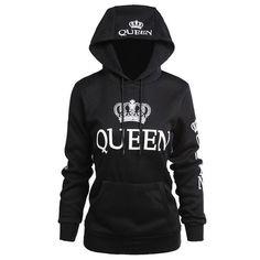 2018 KING Queen Crown Print Unisex Men Women Autumn Hoodies Slim Sweatshirt for Couple Lovers Winter Patchwork Hooded Pullovers Hoodie Sweatshirts, Printed Sweatshirts, Look Fashion, Fashion Men, Fashion Couple, Queen Fashion, Unisex Fashion, Pulls, Mantel