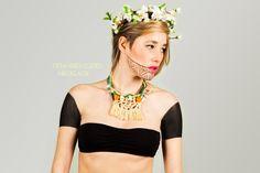 SS13 EMBERA campaign - Melina Urueta fashion and accesories designer  orange cubes necklace.  necklace, ss13, handmade, made in barcelona, inspiration panama.  www.melinaurueta.com