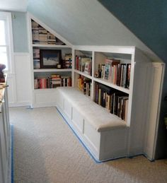 Attic Book Storage Idea. Fill the unused attic space with books. Create a cozy home library for your small room. http://hative.com/creative-attic-storage-ideas-and-solutions/