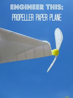 Love this STEM! How to build a propeller-powered paper airplane. Outdoor Stem projects for kids using engineering skills! 1st Grade Science, Stem Science, Preschool Science, Science Experiments Kids, Science Education, Science For Kids, Science Fair, Elementary Science, Steam Activities