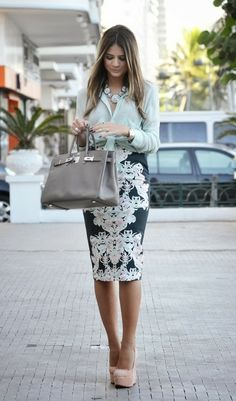 #officewear #streetstyle | a light green blouse paired with a baroque print pencil skirt & styled with nude platform pumps, a grey satchel & a blue statement necklace