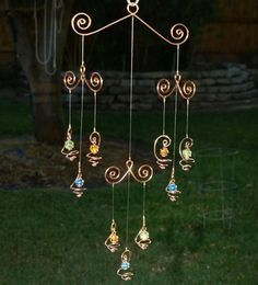 Solid Copper Glass Mobile Suncatcher Handcrafted by TwistsOnWire