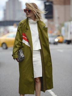 Loving Rebecca Laurey in green trench coat by Preen by Thornton Bregazzi - discover more on www.thestreetmuse.it.