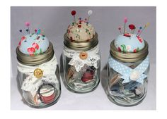 Sewing Kit with pincushion in a mason jar (large). Perfect for valentines .