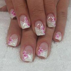 # fingernails # gel nails # white stroke # naturalnails # – carmenirmscher – Today Pin – Welcome Glitter French Nails, Silver Nails, French Tip Nails, White Glitter, Glitter Nails, Nail Art Designs, French Nail Designs, Spring Nail Art, Spring Nails