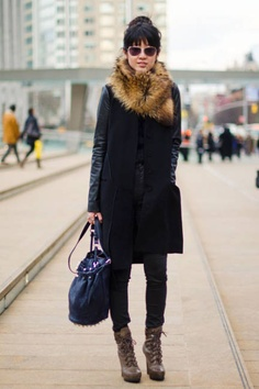 MaxMara jacket, Cheap Monday jeans, Jean-Michel Cazabat shoes, and Marc by Marc Jacobs bag.