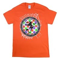 Stand out with our Halloween Circle Witches Orange T-shirt. Whether you  are trick or treating with your kids or socializing at company or family Halloween parties or Fall festival let Tees2urdoor bright and colorful  polka dots with witchees, ghosts goblins, candy, trick or treat, bats  and spider webs be the ultimate creepy shirt be the one you are wearing  to stand out.