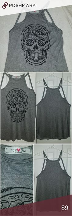 Sugar Skull Tank Top Gray Sugar Skull Tank Top 95% Rayon 5% Spandex NWOT Excellent Condition Never Worn kali reeve Tops Tank Tops