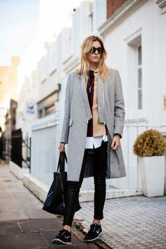 love this chic look // long coat, sneakers, sunnies Kappa rock jeans Vans sneakers converse.