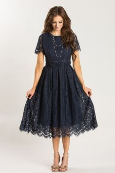 Eleanor Navy Lace Midi Dress - Morning Lavender