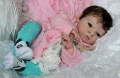 beautiful brown hair reborn baby girl fake baby flutterby hearts reborns Tamara auty