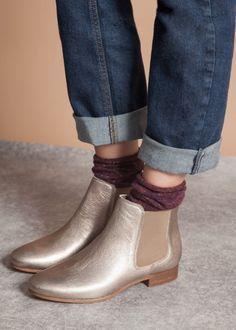 Boots chelsea champagne metallise - bensimon 1