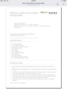 Broccoli Cauliflower Cheese Bake