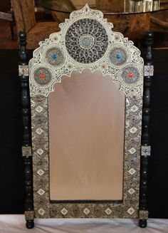 Moroccan Traditional Wall Mirror in Wood & Carved Metal by Morokko, $549.00