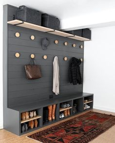 47 Amazing Mudroom Entryway Decor Ideas You Have To See! 47 Amazing Mudroom Entryway Decor Ideas You Have To See! Entryway and Hallway D Mudroom Laundry Room, Shoe Storage In Mudroom, Entryway Storage, Hall Storage Ideas, Pegboard Storage, Boot Storage, Laundry Room Design, Mud Room Lockers, Shoe Organizer Entryway