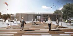 Renders de arquitectura para el proyecto de un Centro de interpretación del paisaje en la desembocadura del Guadalhorce en Málaga.
