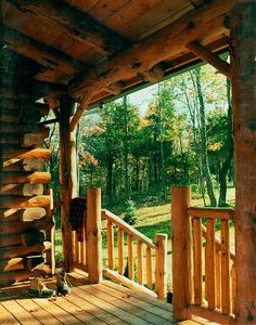 Adirondack Country Log Home Porches facing morning and afternoon sun