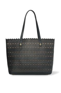 Avalon Tote - Black Perf.  This crisp and modern perforated tote is inspired by our unique laser cut Avalon jewelry collection. Features a detachable pouch perfect for your keys and phone. Signature Stella & Dot custom pyramid hardware adds the right amount of edge.  Shop 6/4 at www.stelladot.com/sarahtaliaferro