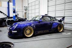 ❤️in love❤️Rauh-Welt RWB widebody Porsche 993 on a set of golden PUR Wheels #porsche #rwb