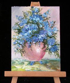 Blue Flowers in Vase by valdasfineart on Etsy
