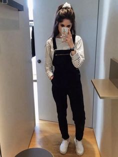 I want some black overalls so badly where can i find some! Indian Fashion Dresses, Girls Fashion Clothes, Teen Fashion Outfits, Edgy Outfits, Cute Casual Outfits, Look Fashion, Girl Fashion, Stylish Dresses For Girls, Stylish Dress Designs