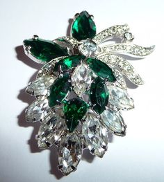 VINTAGE SIGNED EISENBERG ICE RHINESTONE DRESS CLIP PIN RARE ANTIQUE  lttrivette