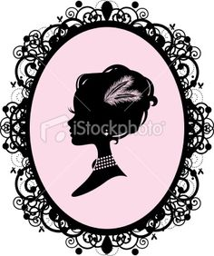 The silhouette of a woman in an ornate frame with feathers in her. Silhouette Tattoos, Bird Silhouette, Vintage Silhouette, Silhouette Portrait, Art Deco Cards, Quilling Patterns, Victorian Women, Free Vector Art, Vintage Gifts