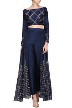 Pink Peacock Couture Featuring a navy blue pants in raw silk base with checkered rose gold embroidery on the overlay flap. It is paired with matching crop top in checkered embroidery. Designer Party Wear Dresses, Dresses To Wear To A Wedding, Indian Designer Outfits, Dress Wedding, Sabyasachi Lehenga Bridal, Anarkali, Indian Attire, Indian Outfits, Lehenga Crop Top