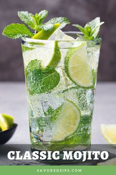Mojito cocktail with lime and mint in highball glass on a grey stone background Fun Cocktails, Cocktail Recipes, Popular Cocktails, Mojito Cocktail, Mojito Drink, Mint Mojito, Alcoholic Drinks, Beverages, Gastronomia