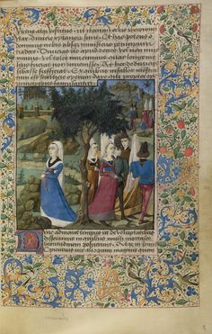 Young Men and Women Outdoors; Unknown; France; about 1460 - 1470; Tempera colors, gold leaf, gold paint, and ink on parchment; Leaf: 17.6 x 11.4 cm (6 15/16 x 4 1/2 in.); Ms. 68, fol. 8; J. Paul Getty Museum, Los Angeles, California