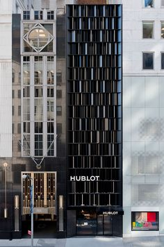 peter marino opens hublot flagship store in new york is part of architecture Drawing House Interior Design - luxury swiss watch brand hublot has opened its largest boutique store in the united states, designed by architect peter marino Retail Facade, Shop Facade, Building Skin, Building Facade, Small Buildings, Beautiful Buildings, Facade Pattern, Luxury Store, Facade Design