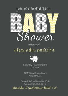 Baby Shower Elephant Invitation  Printable by LuLuPaperPrints, $8.00