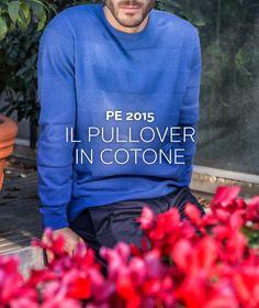 Usato senza camicia, il #maglione #girocollo diventa un perfetto capo #casual #pe2015 #purecotton #crewneck