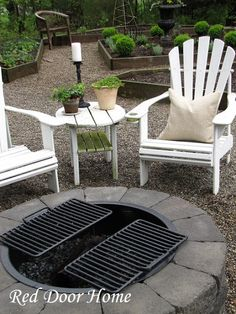 Another simple fire pit how to. Very easy to do. this one by Red Door Home. They used a kit, but the landscape stones are easily found at Lowe's & Home Depot.