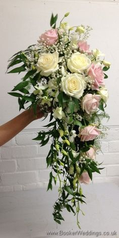 Wedding Flowers Liverpool, Merseyside, Bridal Florist, Booker Flowers and Gifts, Booker Weddings Blush Pink and Ivory Hand Tied Bridal Shower Bouquet with Roses, Dendrobium Orchid and Gypsophila