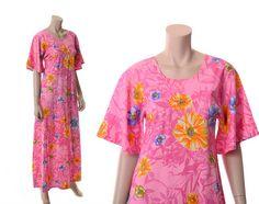 Vintage 70s Mod Pink Floral Caftan Maxi Dress by CkshopperVintage