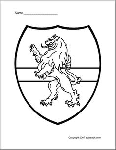 medieval classroom theme | of 1 coloring page medieval shield lion medieval lion coloring ...