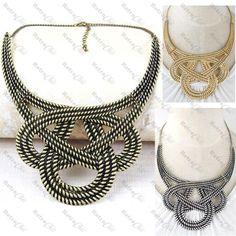 BIG KNOT rope COLLAR NECKLACE basket weave BOHO vintage brass/silver/gold pl BIB