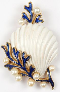 Trifari 'Alfred Philippe' Pearls and Blue Coral White Seashell Pin - 1965
