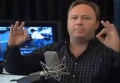 Alex Jones, a controlled opposition of the Illuminati, constantly showing the 666, or yoni sign, on his show. Neuro-Linguistic Programing.